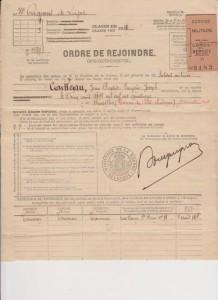 Convocation militaire adressée à Mr. Jean Baptiste Cailleau datée du 05 août 1914